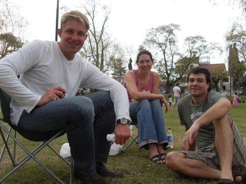 Claudio, Doreen, and Rolando at the park  by the lake in Alta Gracia