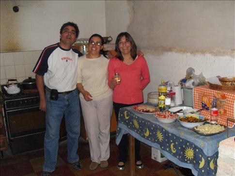 Walter, Carolina, and Gloria in the kitchen