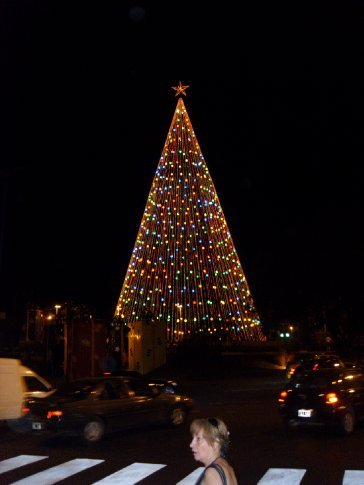 Lighted Christmas Tree at the end of one of the main avenues in Cordoba.