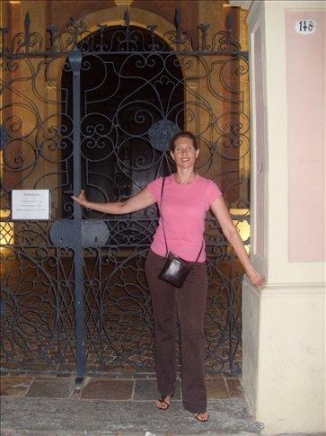 Doreen by church doors