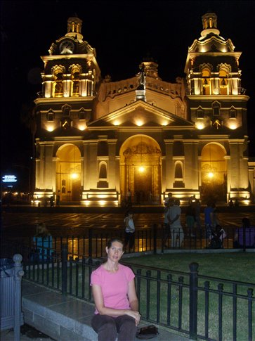 Doreen in front of Cathedral at night