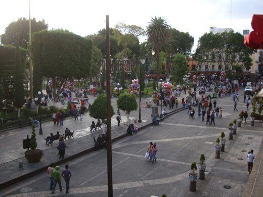 The downtown plaza in Puebla