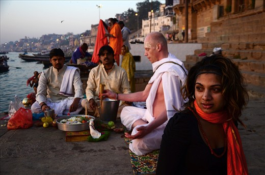 A DEVOTEE WORSHIPING ON THE BANKS OF THE RIVER GANGES.