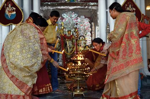 """SANDHI PUJA"" THE RITUALS OF LIGHTING IS A PART OF WORSHIPING THE GODDESS DURGA."