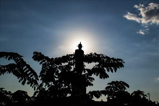 Mekong statue silhouette