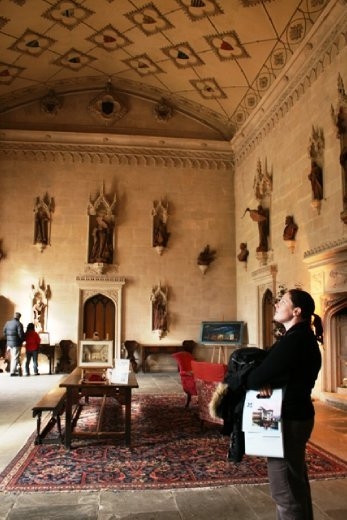 Admiring the terracotta statues in the great hall