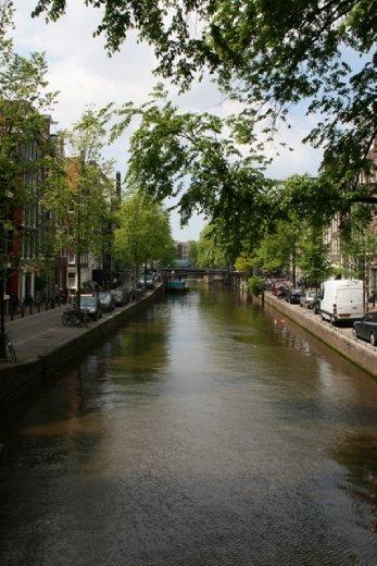 Classic canal scene in Amsterdam