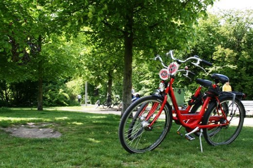 Our trusty red bikes