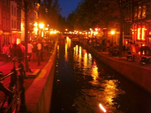 Looking out over a canal in the red light district