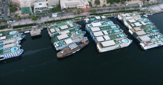 Nile cruisers from above