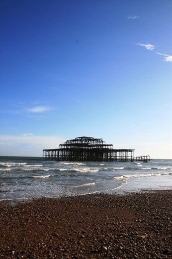 The West Pier - built in 1866 and burnt to a crisp in a series of suspicious fires.