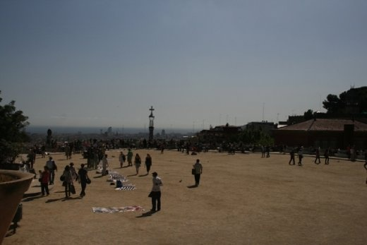The main terrace of Parc Guell, focal point of the park & full of vendors & buskers