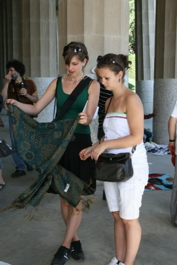 Stephi & Liza bargaining for a scarf