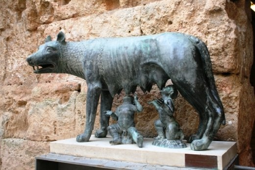 Romulus & Remus, Roman twins said to have been raised by a she-wolf in the legends