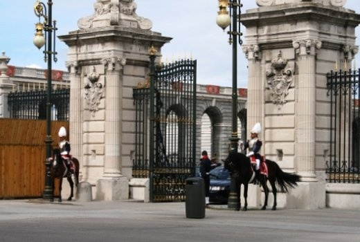 Lots of security around the palace