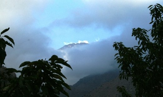 Our only glimpse of the peak of Mount Toubkal through the clouds, 4,176km above sea level