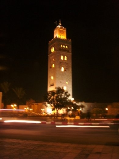The mosque all lit up at night