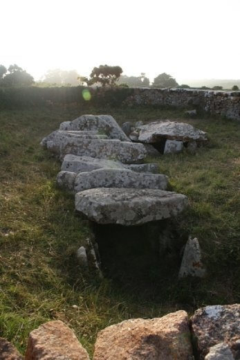 An ancient burial site where 3 skeletons were found