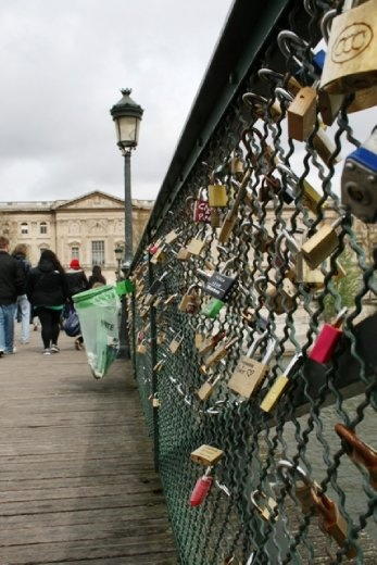 Pont des Arts pedestrian bridge - covered in locks for all those lovers out there. Have to be removed every 6 months to prevent the bridge collapsing under the weight of love
