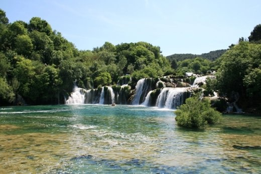 It is the lowest of the three sets of waterfalls formed along the Krka river