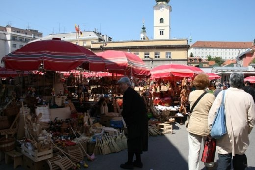 Dolac Market - located in Gornji Grad - Medveščak city district & the most visited and the best known farmer's market in Zagreb, well known for its combination of traditional open market with stalls and a sheltered market below
