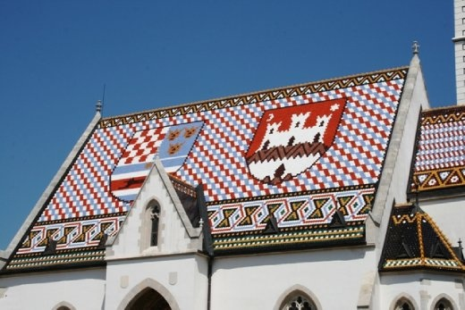 St Mark's Church - tiles are laid so that they represent the coat of arms of Zagreb (white castle on red background) and Triune Kingdom of Croatia, Slavonia and Dalmatia.
