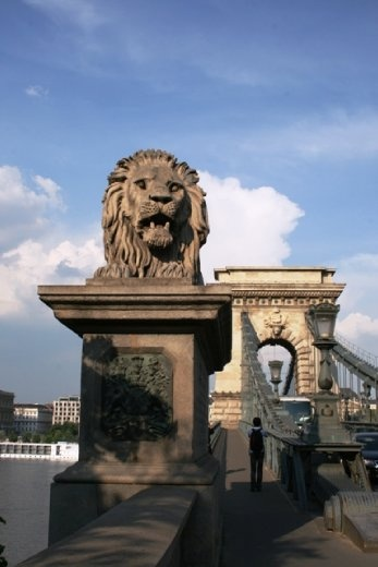 Chain Bridge is a suspension bridge that spans the River Danube between Buda and Pest, the west and east side of Budapest; and was the first bridge built across the Danube