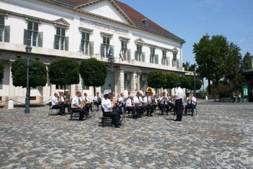 Policemen's band performing in the courtyard of the castle