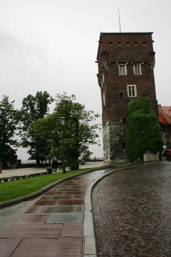 Walking up to Wawel Castle in the rain
