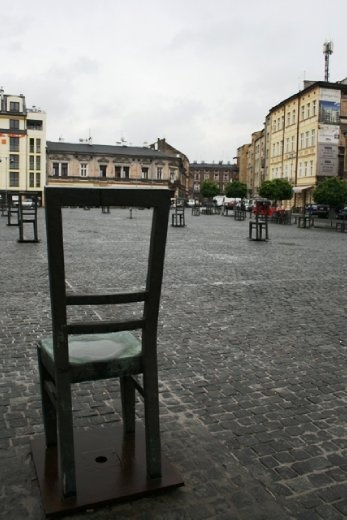 The chair sculptures represent all the belongings the Jews had to leave behind in the square before they entered the ghetto