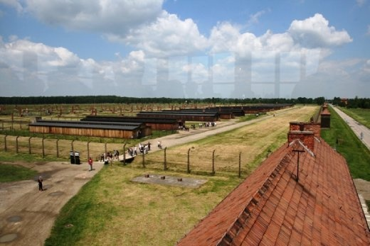 View of Birkenau camp from the tower