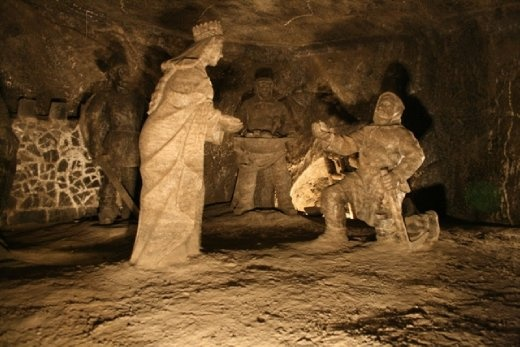 Figures carved out of salt in the Wieliczka Salt Mine