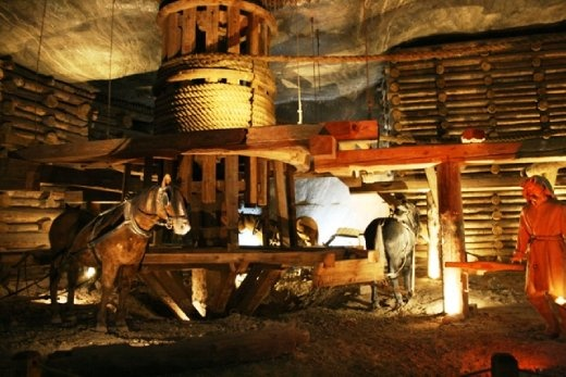 Some horse-powered equipment deep under the earth