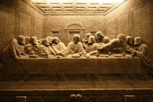 The Last Supper carved into the wall of the chapel area