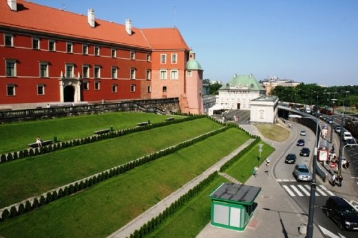 View of the Royal Castle in Castle Square in the Old Town of Warsaw