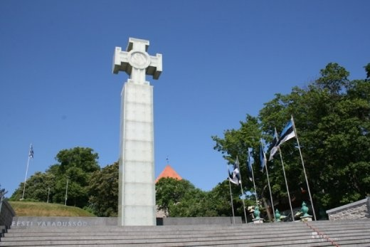 War of Independence Victory Column incorporating the Cross of Liberty, Estonia's most distinguished award established in 1919.