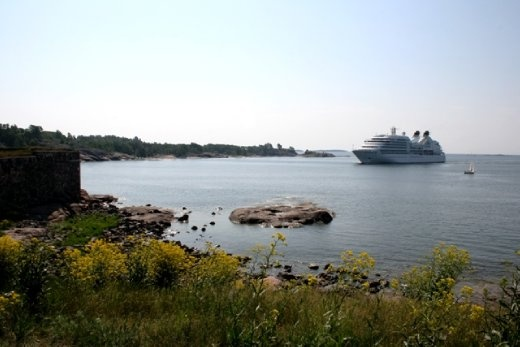 Ferry from Turku coming through the channel into Helsinki