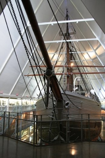 Fram (Forward) is said to have sailed farther north (85°57'N) and farther south (78°41'S) than any other wooden ship.