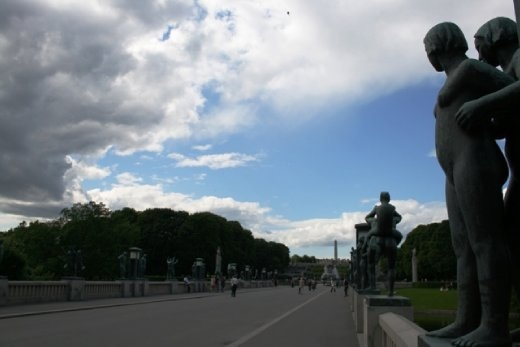 Walking through Vigeland Park on a lovely sunny afternoon