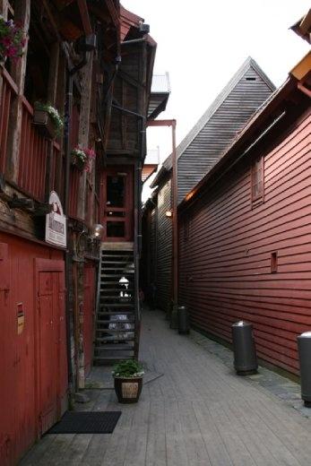 Walking through the wooden house neighbourhood