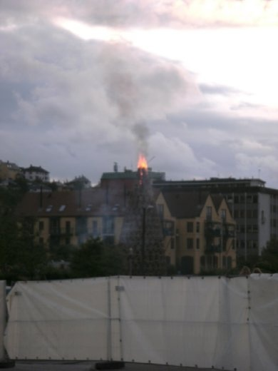 View of the bonfire from a distance