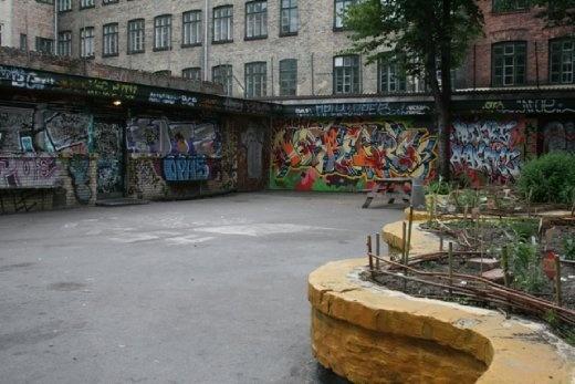 Impressive graffiti in a courtyard outside the hostel