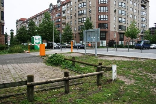 The unadorned site of Hitler's bunker - after people kept disturbing neighbours to find out where it was situated a small descriptive board was erected.