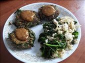 Patties topped with sauce with a side of brown rice with kale and tofu.: by earthmagic, Views[197]