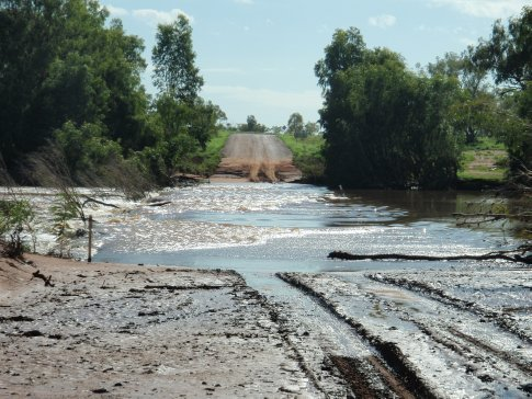 The Cloncurry river flowing accross the heavy vehicle bypass