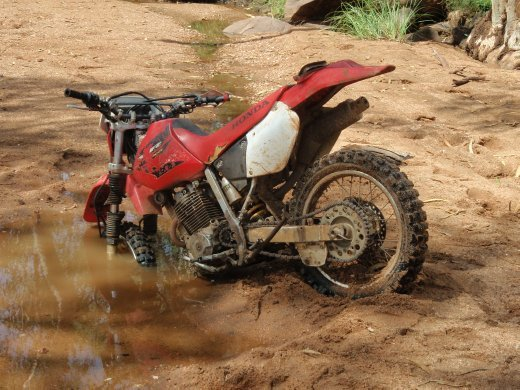 This si what happens when you ride a bike ito quicksand.  We had to pull it out with a toyota !