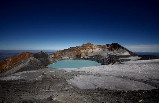 The emerald colored crater lake at the top of Mt Ruapehu is a sight that makes the trek well worth it. The volcano on Mt Ruapehu erupts on average of every 10-20 years. Which makes witnessing sights such as this even more exhilarating.