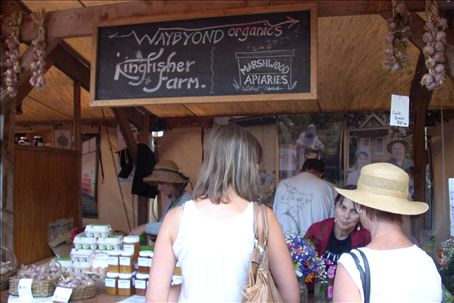 Our stall at market. I actually worked for both Kingfisher and Waybyond. Jeni sells salad bags and Toni sells free-range eggs and garlic.