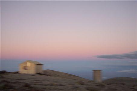 My hut at dusk on Fanthom's peak