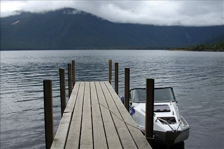 the dock where we fed eels on lake rotoroa